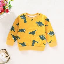 -Spring Autumn Boys Cartoon T-shirt Children Clothing Tops  For 1-7 Years Male Kids Yellow Dinosaur Pattern Tops Tees Size 80-120 on JD