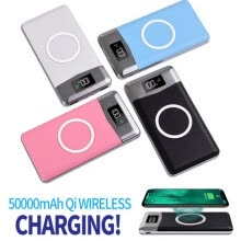 -50000mah Power Bank Qi Wireless Charging 2 USB LCD LED Portable Wireless Charger External Battery For Xiaomi Samsung iphone XS on JD