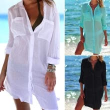 -Women´s Ladies Fashion Shirts Solid Turndown Collar Button Long Sleeve Long Length Shirt Summer Party Beach Daily Casual Wear on JD