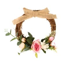 -10-Inch Artificial Rose Flower Garland Silk Roses Front Door Wreath Hanging Wedding Party Spring Decor Door Decoration on JD
