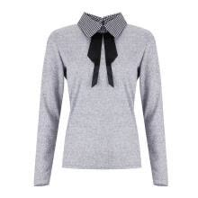 -Women´s Classy Lapel Collar Long Sleeve Sweatshirt Plaid Collar with Bow Long Sleeve Casual Pullover Long Sleeve Elegant Work  on JD