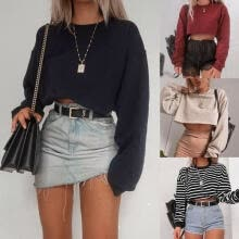 shirts-Women's Casual Long Sleeve Sweatshirt O-Neck Fashion Jumper Top Loose Blouse Outfits on JD