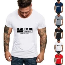 -Men Father's Day O Neck Short Sleeve Print T Shirts Tops Blouse on JD