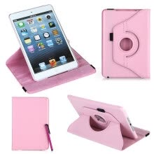 -360 Degrees Rotating Protective Leather Case Skin Cover Stand for Apple iPad Mini Pink with Stylus Pen & Screen Protector & Cleani on JD