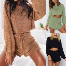 -Women Casual Two-piece Sets Home Solid Lacing Long Sleeves Sweater Suit on JD