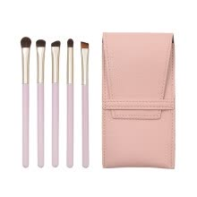 -5 Pcs Pink Wooden Handle Fiber Eye Brush Makeup Brush Bag Set on JD