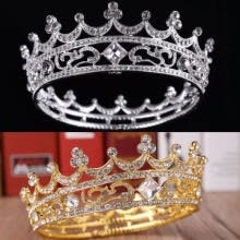 party-tableware-4.5cm High Full Crystal King Wedding Bridal Party Pageant Prom Tiara Round Crown on JD