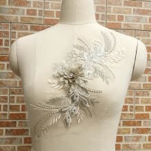 -3D Flower Embroidery Bridal Lace Applique Pearl Beaded Tulle Diy Wedding Dress on JD