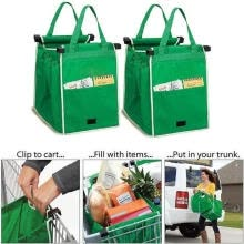 gifts-1pc Foldable Reusable Grocery Large Trolley Clip-To-Cart Supermarket Shopping Grab Bags on JD