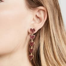 -Women's Heart-Shaped Long Tassel Style Versatile Fashion Earrings Ear Studs on JD