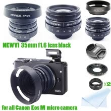 -Inverlee yi 35mm f/1.6 CCTV Mini Lens for Canon EOS Mount Mirro Camera & Hood Adapter on JD