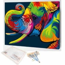 -Multi-Colored DIY Number Kit Painting Framed Elephant Animal Home Office Decor on JD
