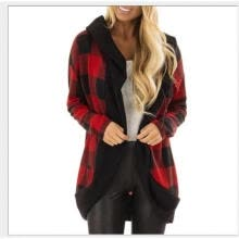 thermal-underwear-Women Plaid Cardigan, Long Sleeve Color Block Top Autumn and Winter Outer Wear (Black, Wine Red) on JD
