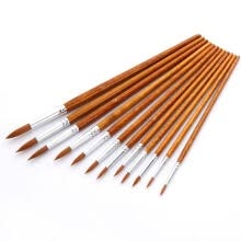 paint-brushes-12pcs Nylon Pointed Flat Watercolor Paint Brush Fine Acrylic Drawing Reusable  on JD