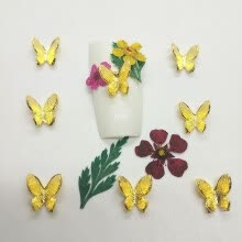 -New fashion 3D matte metal glitter butterfly gold silver nail art jewelry decoration on JD
