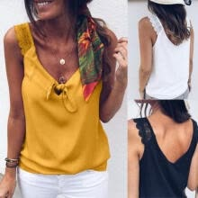 vests-Fashion Women Solid color Vest Top Summer Casual Ladies Sleeveless T Shirt Strappy Tank Top on JD