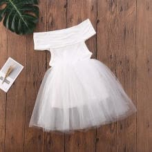 -Summer Toddler Baby Girls Kids Off-the-Shoulder Tutu Tulle Princess Party Pageant Dress on JD