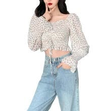 banners-streamers-Women's Shirt, Long Sleeve Square Neck Blouse Floral Top for Vacation Travelling Party Photography on JD