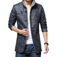-Men' s Leather Coat, Solid Color Stand Collar Long Sleeve Greatcoat Jacket for Men, Khaki/Dark Gray on JD