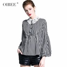 -OIBEE2019 spring new fashion doll collar loose shirt women's shirt college wind striped short jacket on JD