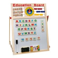 -Magnetic Wooden Double Side Drawing Writing Board With Stand Puzzle Game Toy Set Multifunctional Preschool Teaching Toys for Kids on JD
