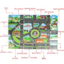-Parent Child Play Mat City Road Buildings Parking Scene Map Educational Toys Set on JD