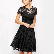 -Sexy Women Floral Lace Dresses Ukraine Short Sleeve Party Casual Solid Color Blue Red Black Mini Dress Plus Size S-5XL on JD