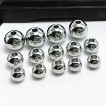 -100 Pcs Stainless Steel Silver Tone Round Smooth Seamless Spacer Solid Beads 5mm for DIY Jewelry Making on JD