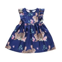 -Summer Kids Girls Dress Casual Baby Girls Easter Bunny Pattern Flare Sleeve Dress Kids Toddler Pageant Sundress on JD