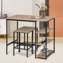 -Bar Table and Stools Set 3-Piece Breakfast Bar Table with 2 Stools and Large Storage Shelves on JD