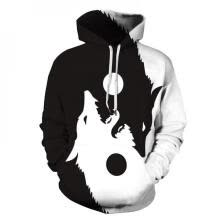 -Sweatshirts Men Sport Hoodie Wolf Pattern Autumn Concise Casual All-match Loose Personality Hooded Clothes on JD