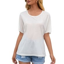 -Elenxs Women T-shirt Short Sleeve Round Neck Sexy Hollow Summer Loose Top on JD