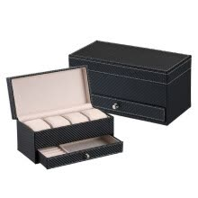 -4 Seat Watch Storage Box Double Layer Synthetic Leathe Travel Jewelry Box Bracelet Earring Storage Box#1 on JD