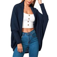 -Domybest Women Cardigan Solid Color Loose​ Long ​Open Front Jacket (Navy Blue S) on JD