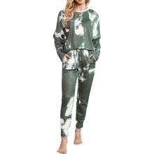 -Women  Loungewear Casual Tie Dye Print Long Sleeve Tops + Drawstring Pants Women pajamas on JD