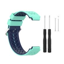 -Elenxs Watch Strap Silicone Adjustable Watch Belt with Dual Colors Replacement for Garmin, Light Blue, Blue on JD