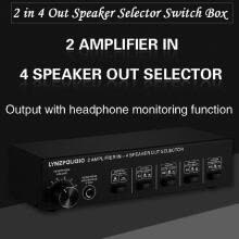 -LINEPAUDIO 2 in 4 Out Speaker Selector Switch Box 4 Zone Amplifier and Speaker Selector with Volume Control Banana Jack 6.5mm Earp on JD