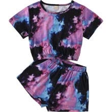 other-oral-products-Kids Suit Set, Tie-Dye Print Round Collar Short Sleeve Pullover+ Shorts on JD