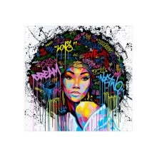 -Frameless Modern Art Canvas Painting Pictures Explosive Afro Hairstyle African Women Art Wall Posters for Home Bedroom Decor on JD