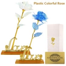 -Willstar Gold Galaxy Rose Flowers Artificial Rose Flowers Eternal Forever Flower with Love Base Stand for Valentine's Day, Mother' on JD