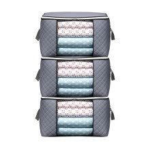 -TureClos 3pcs/set Clothes Storage Bag Handle Large Capacity Pillow Blanket Holder Double Zippers Quilt Organizer, Horizontal on JD