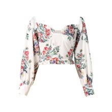 -Musuos Ladies Female Ruched Floral Print Shirt Blouse Summer Fall Women 3/4 Sleeve Square Collar Crop Top Fashion Beach Tops on JD