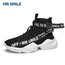 c5df3346 Mr. Smile (MR SMILE) ins net red Korean version of the trend of wild sports  shoes fashion casual shoes increased socks shoes high to help men's shoes  black ...
