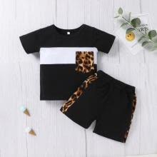 -Baby Leopard Print Clothes Set, Short Sleeve T-shirt+Short Pants on JD