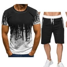 -Hot style 2020 new men's inkjet T-shirt casual sports suit shorts + short-sleeved T-shirt men's trend suit Graypants+darkgraycloth on JD