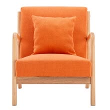 -1pcs Fabric Oak Sofa Comfortable Single Sofa Chair Orange 66 x 68 x 75cm on JD