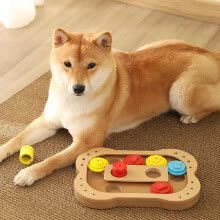 -Food Treated Wooden Toy Dog Seek-A-Treat Puzzle IQ Training Toy Bone Shape Educational Games Plate Toy for Dog Puppy on JD