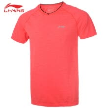 -Li Ning (LI-NING) new all-in-one woven sports short-sleeved shirt T-shirt men's badminton competition clothes sweat-absorbent and quick-drying AAYP057-1 fluorescent orange L code / 175 on JD