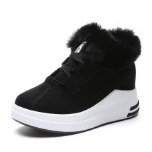 3853b87adf2 Women Flat Platform Shoes with Fur High Top Lace-up Sneakers Winter Warm  Solid Height Increasing Feamle Student Canvas Footwear