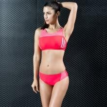 e43170164b Women Sporty Tankini Set Striped Cropped Tank Top Padded Wireless Two  Pieces Bikini Swimsuit Swimwear